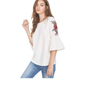 Tops - Rose Embroidered Bell Sleeve Blouse